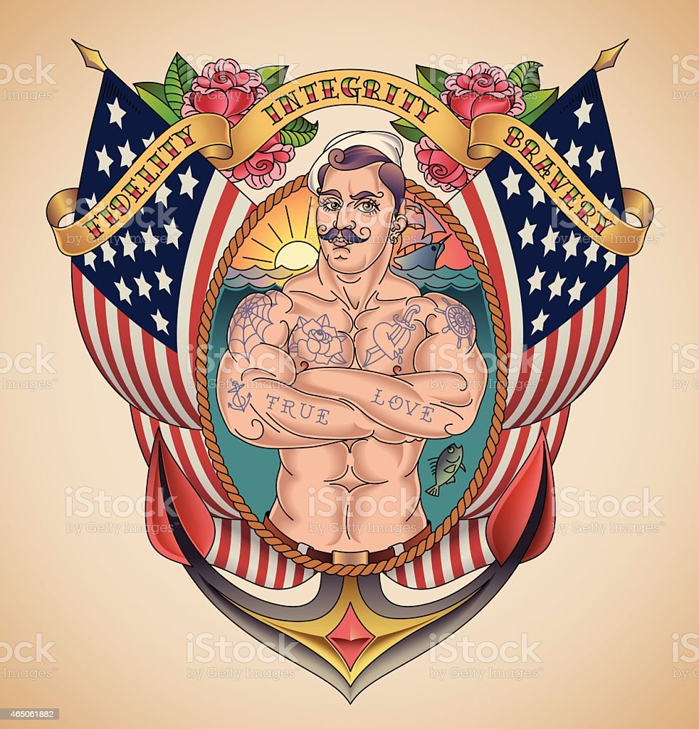Sailor stock photos illustrations and vector art - Handsome American Sailor Tattoo Royalty Free Stock Vector Art