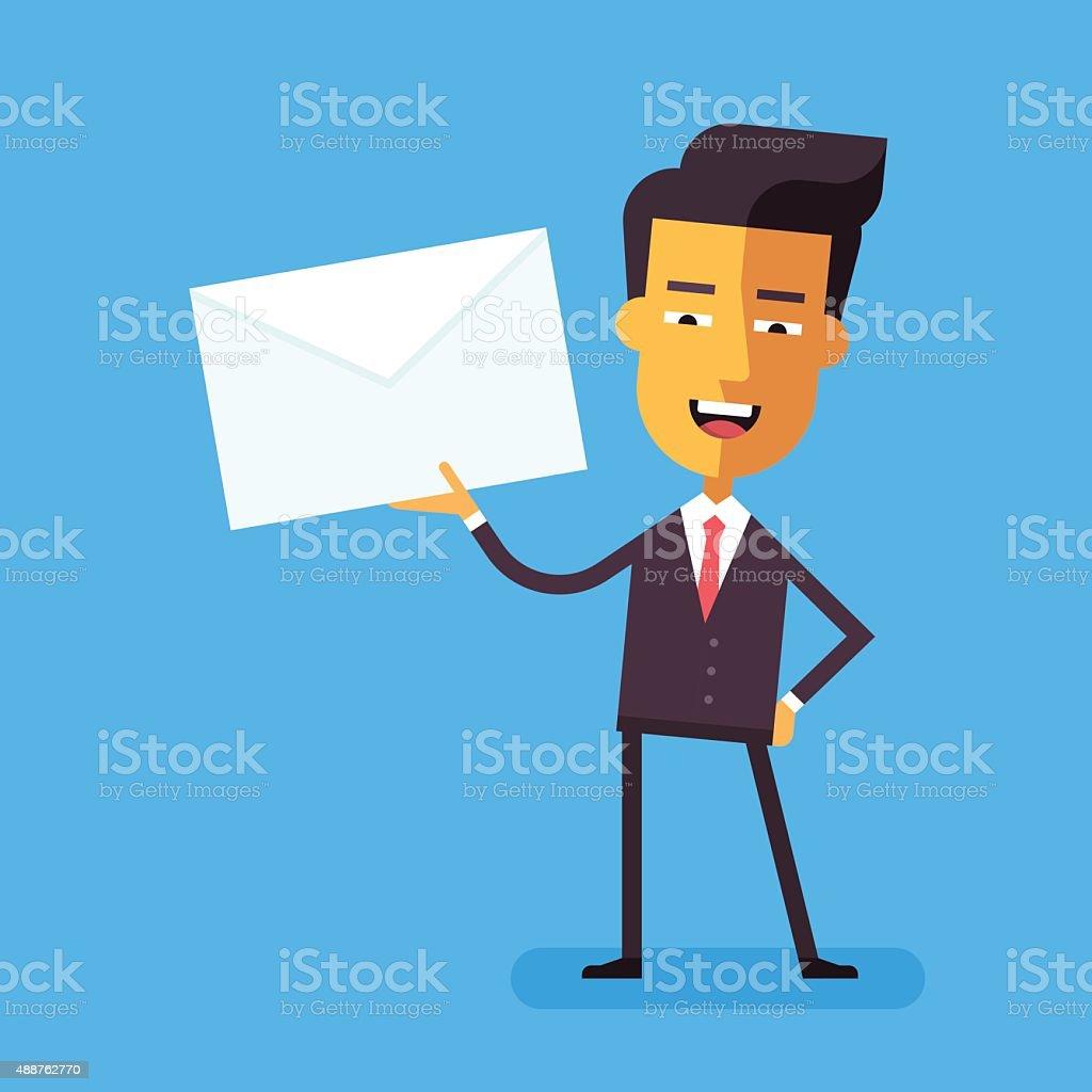 Handsome asian businessman in holding a letter vector art illustration