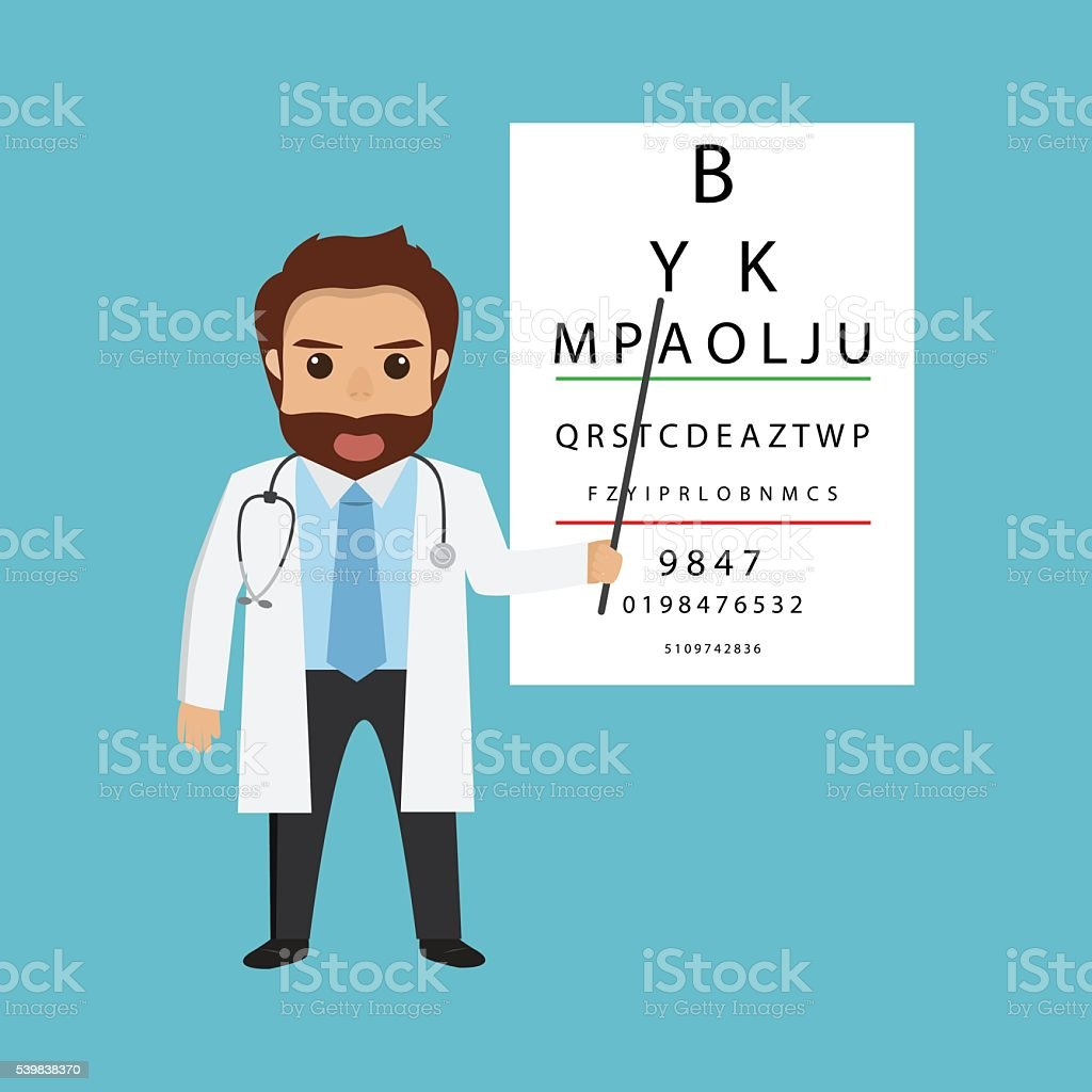 handsome man doctor character optometrist points. vector art illustration
