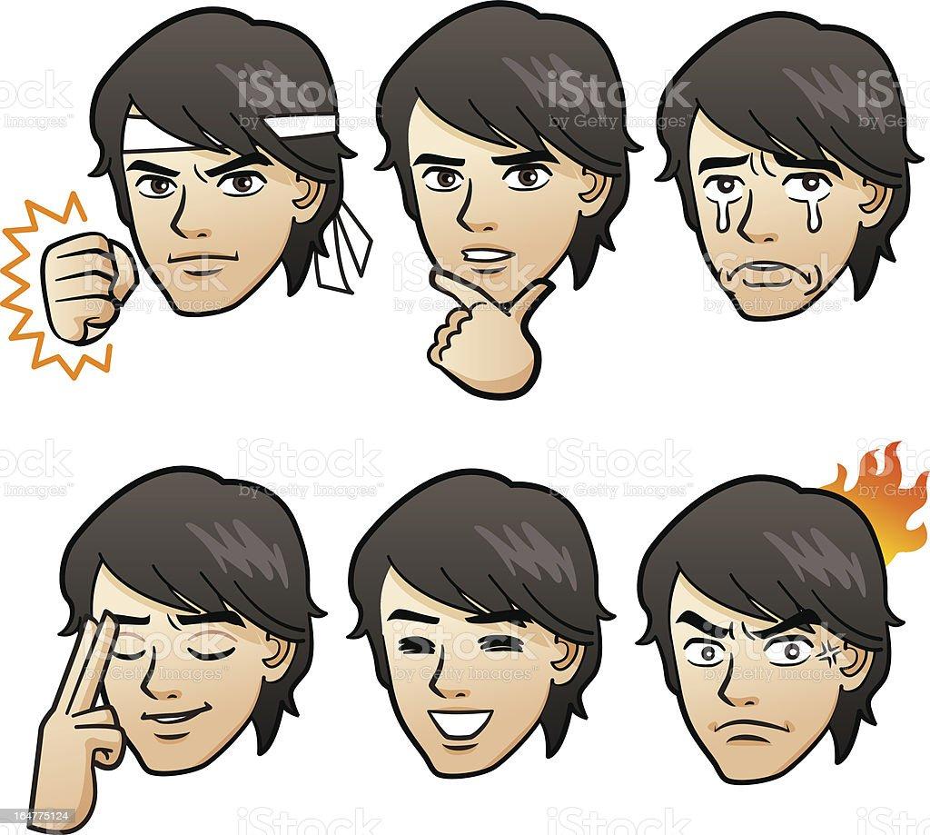 Handsome man emotion variation vector art illustration