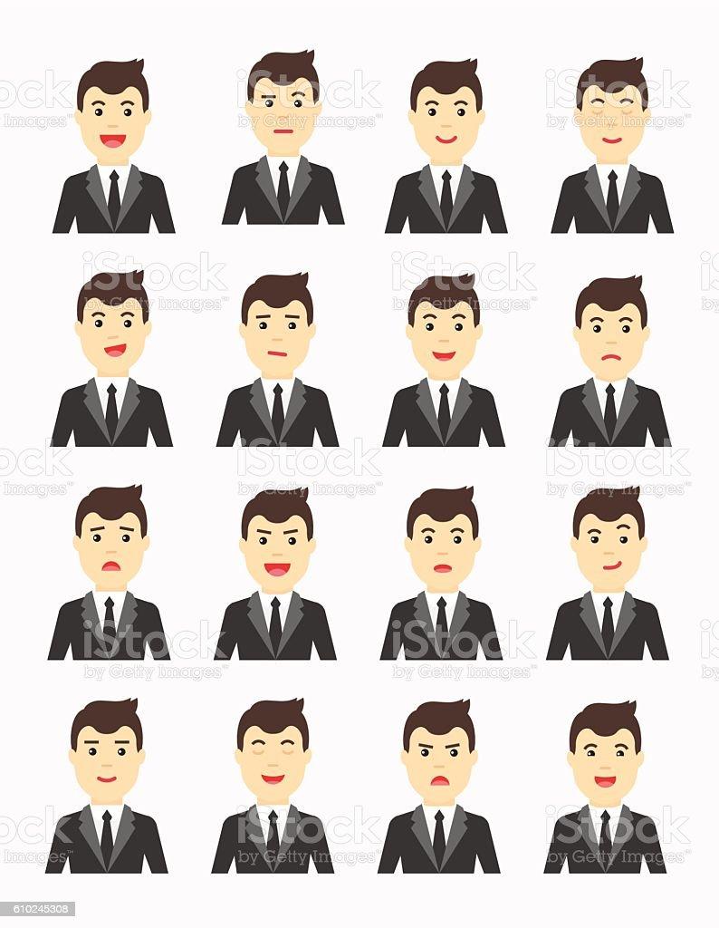 Handsome man Expressing different emotions. Flat vector avatars set. vector art illustration