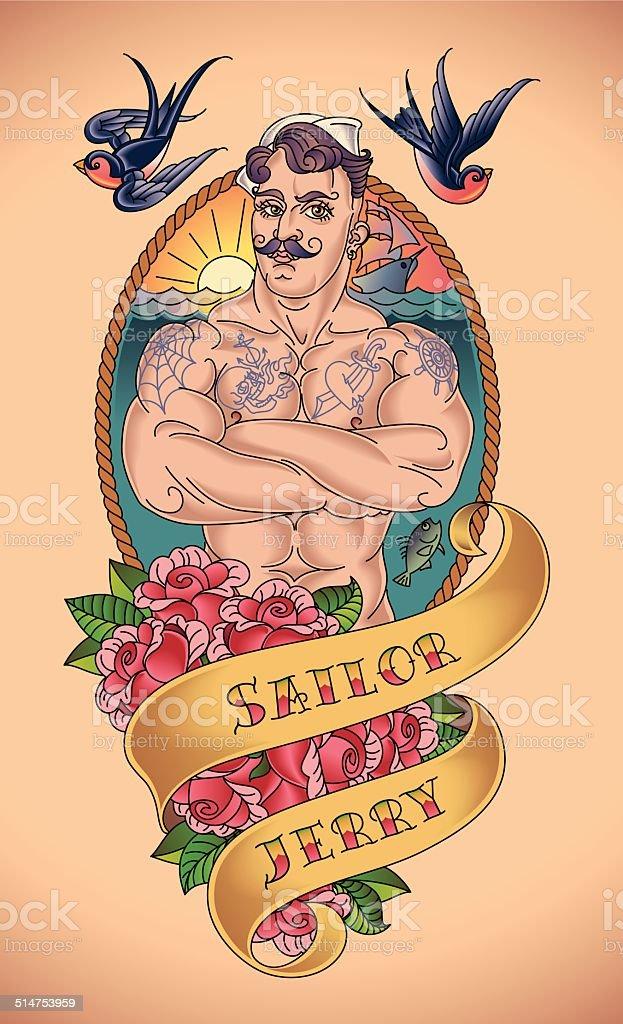Handsome Sailor Tattoo vector art illustration