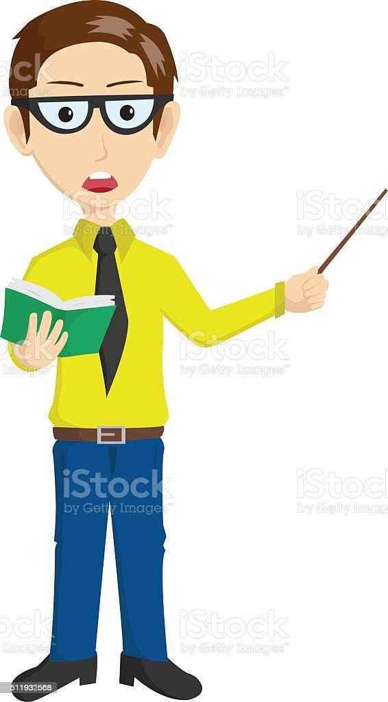 Handsome Teacher Presentation vector art illustration