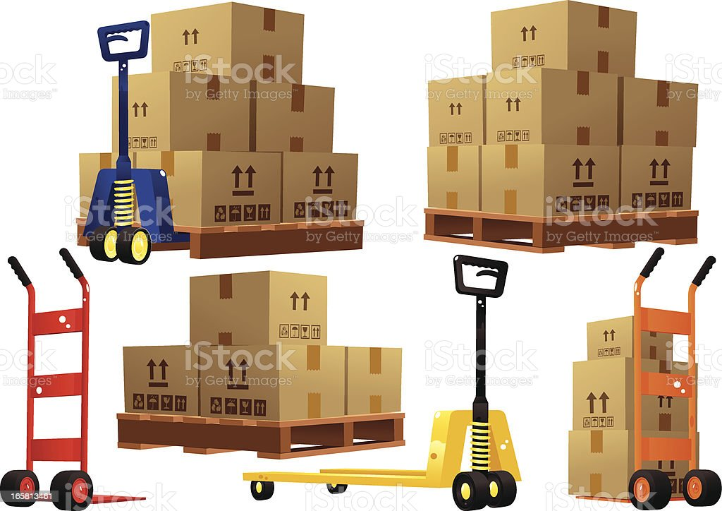 Handtrucks, pallets and cardboard boxes vector art illustration