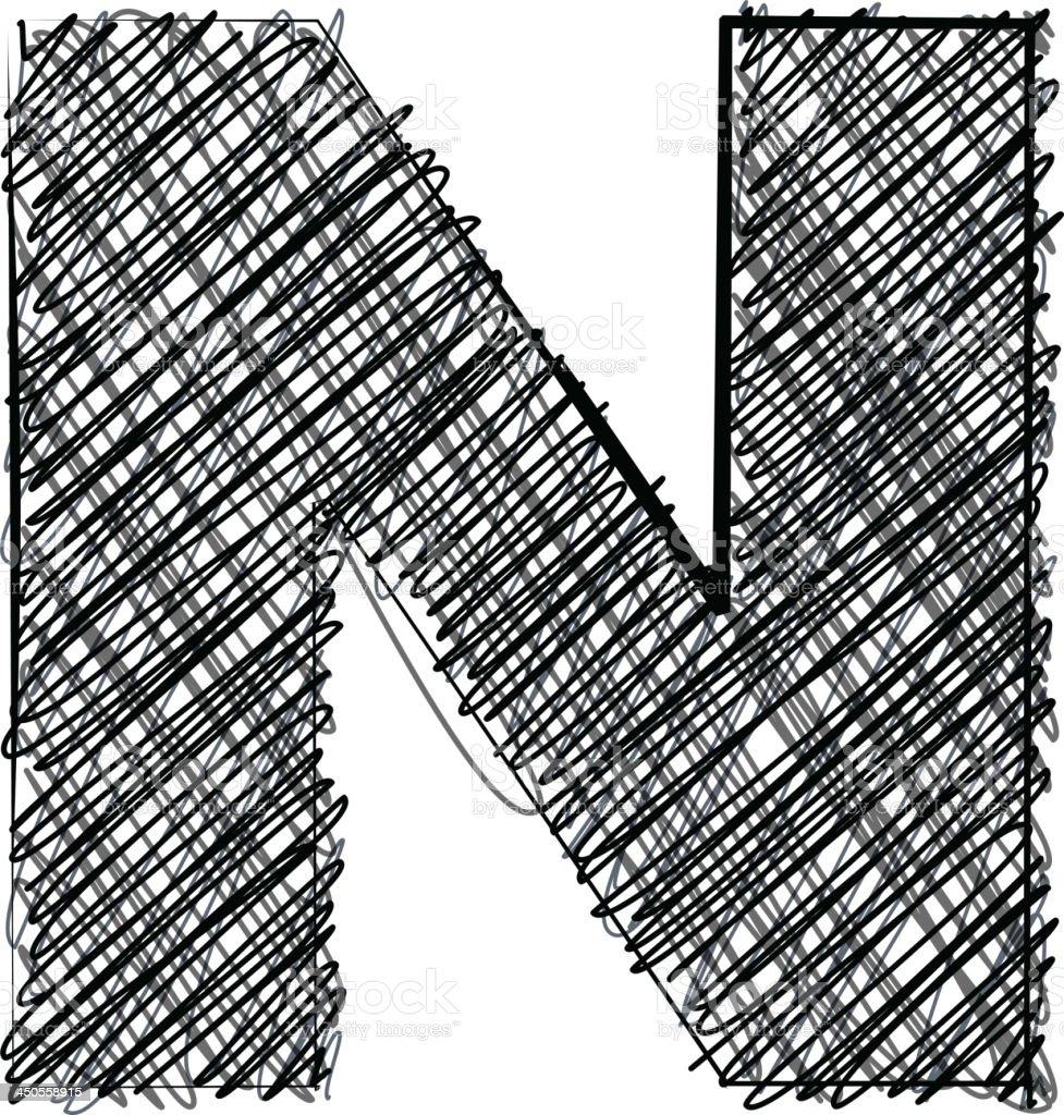 Handwriting letter N royalty-free stock vector art