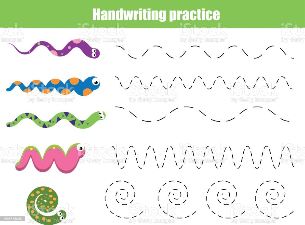 Drawing Lines For Toddlers : Handwriting practice sheet educational children game
