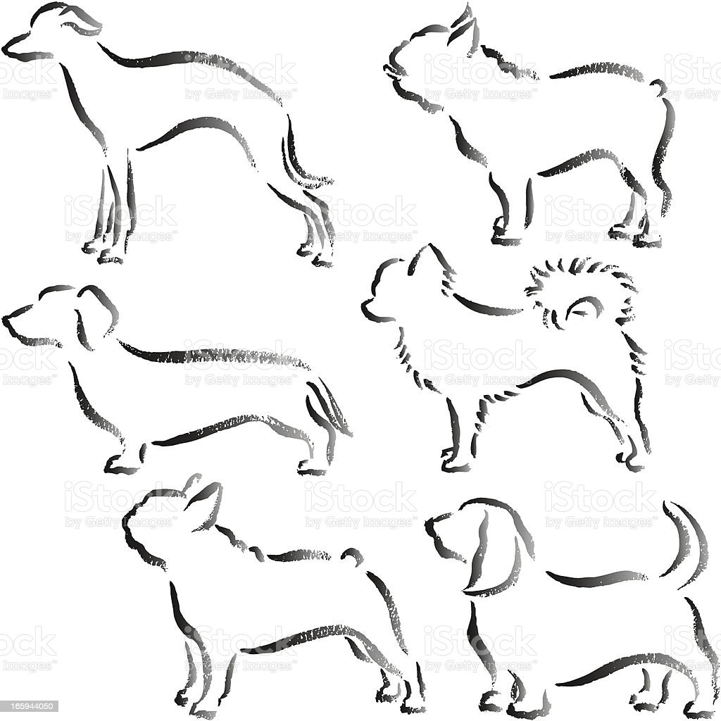 Handwriting small dogs vector art illustration