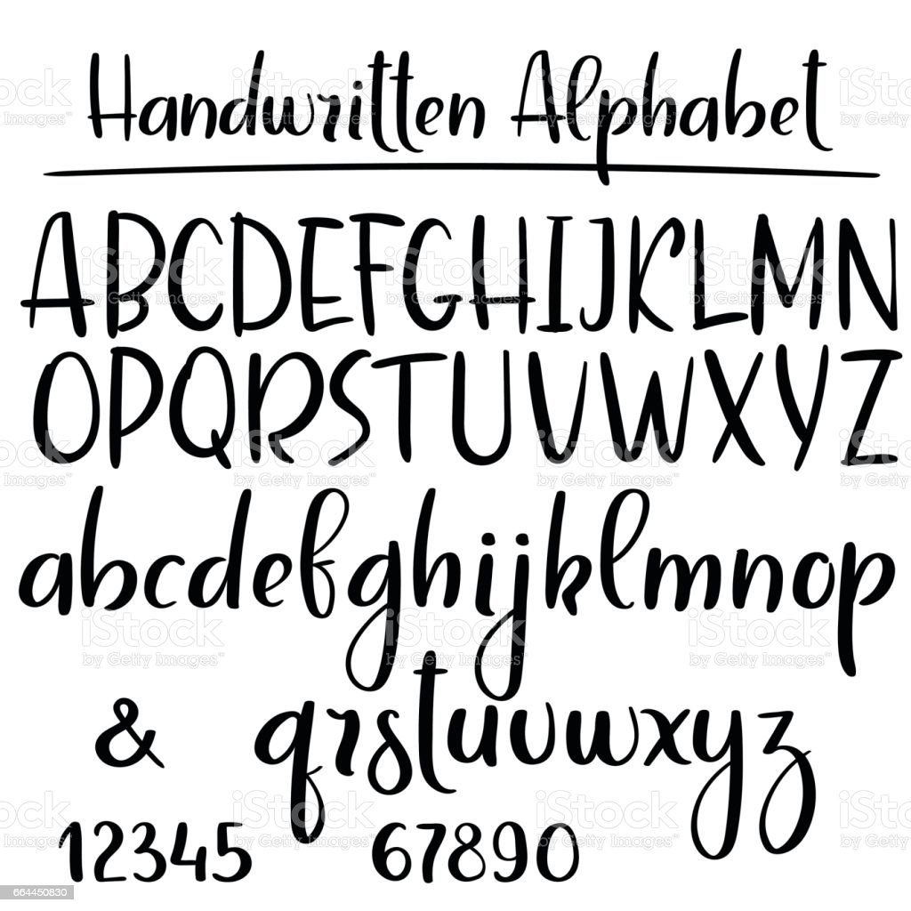 Handwritten aphabet. Modern calligraphy vector font vector art illustration