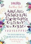 Handwritten decorative alphabet
