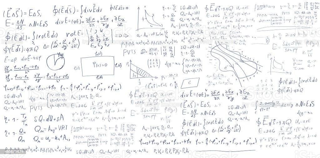 Handwritten formulas and equations on white background vector art illustration