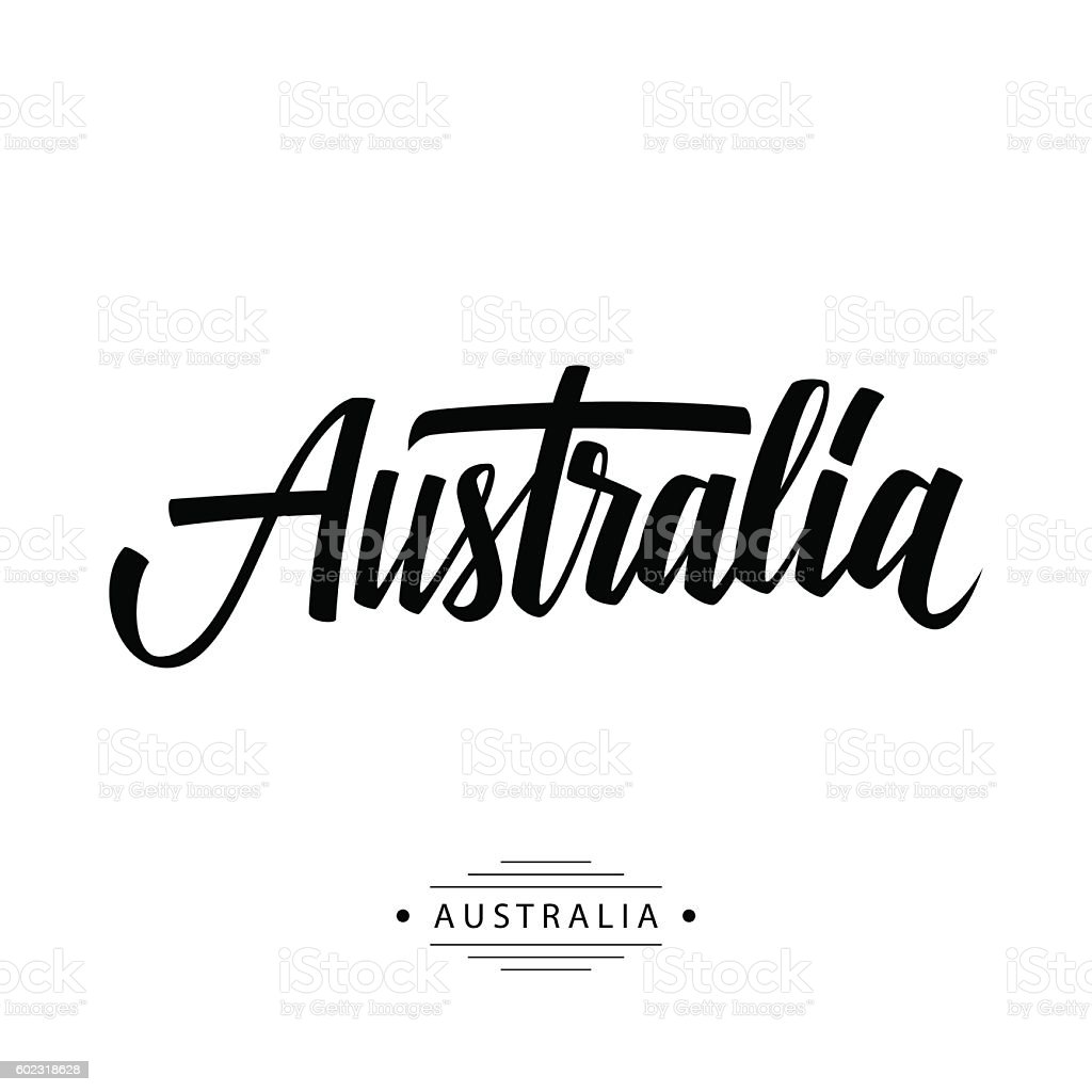 Handwritten inscription Australia. Hand drawn lettering. vector art illustration