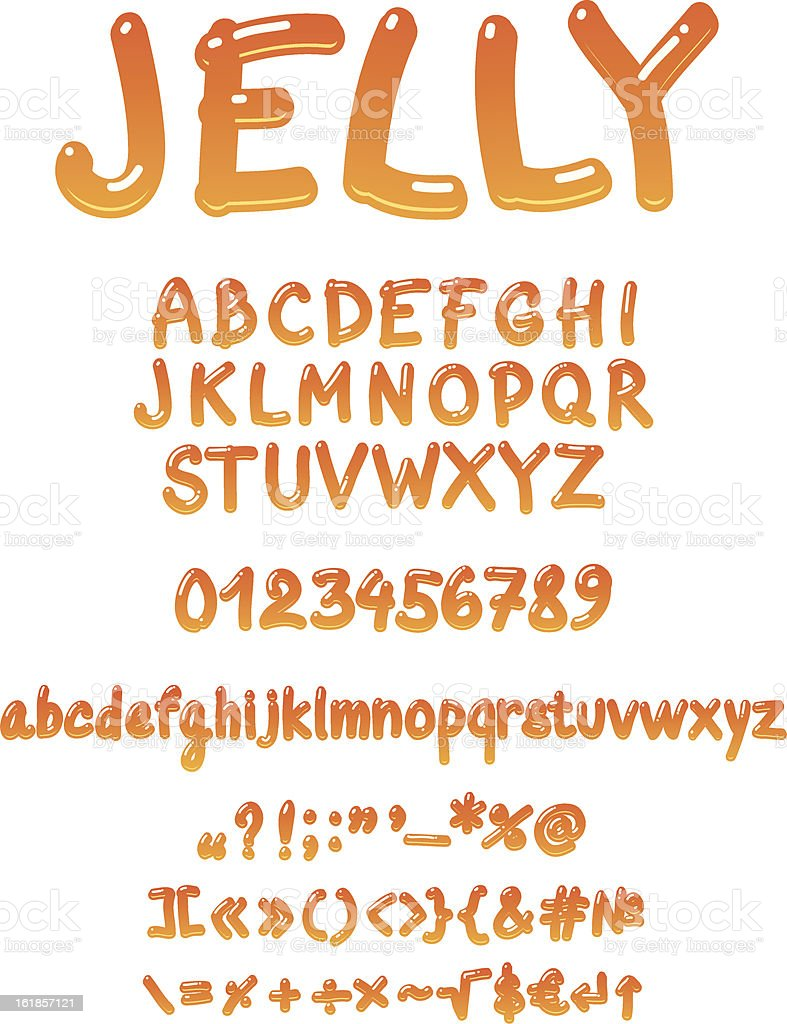 Handwritten jelly font vector royalty-free stock vector art
