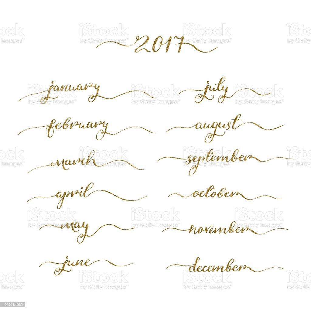 Handwritten months set vector art illustration