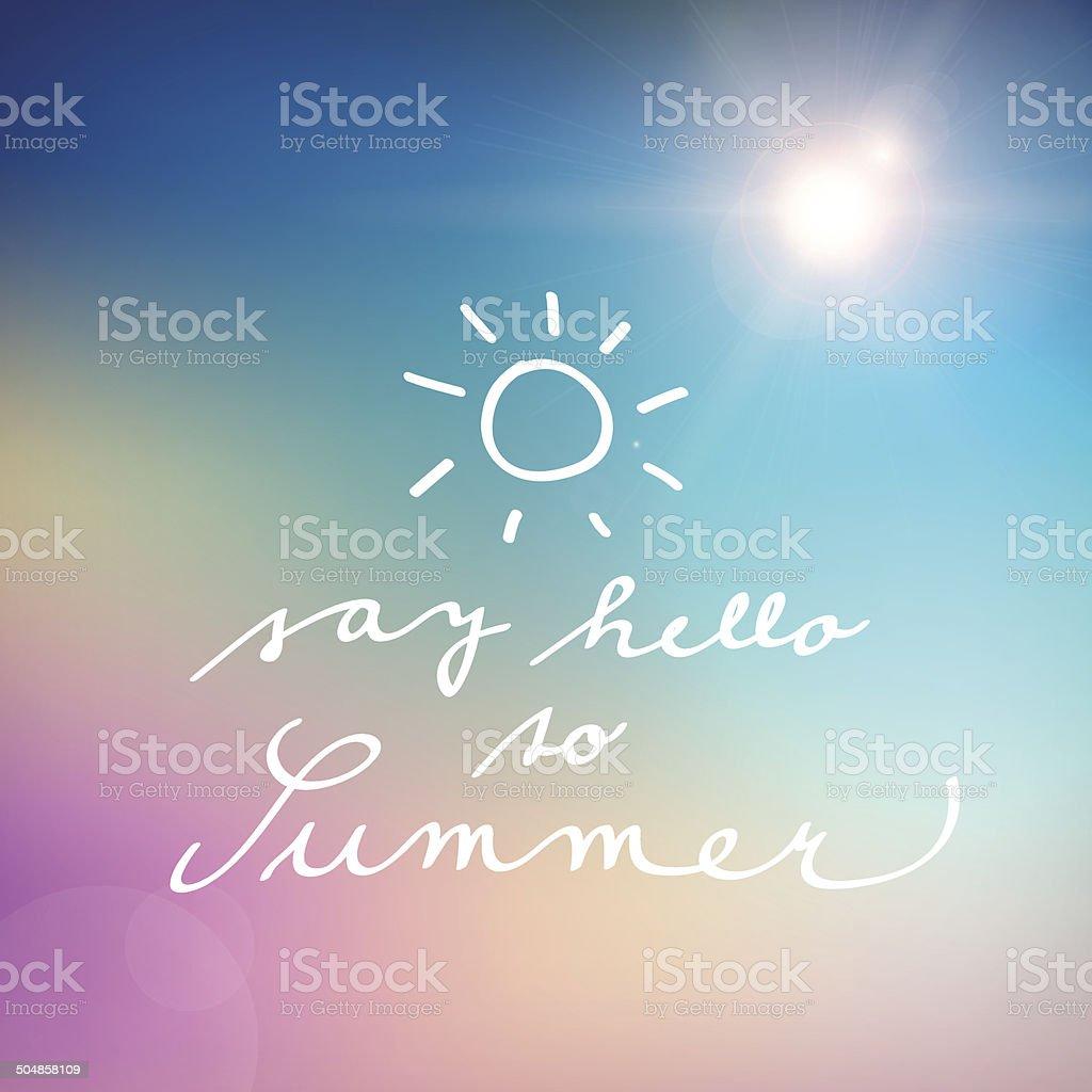 handwritten say hello to summer vector poster royalty-free stock vector art