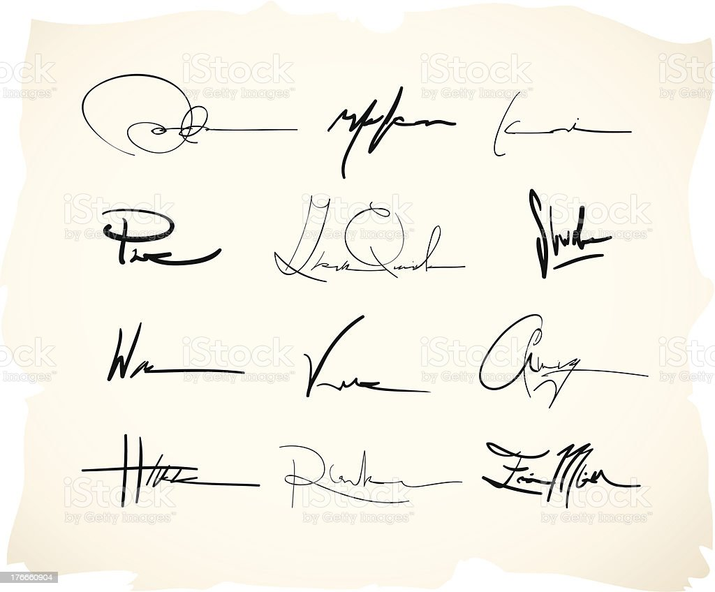 Handwritten signature vector art illustration