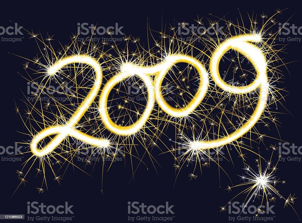 '2009' handwritten sparkler vector art illustration