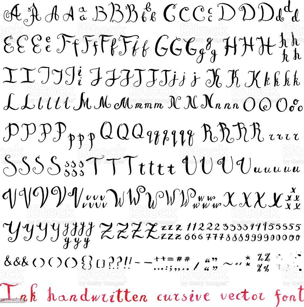 Handwritten vintage ink cursive vector alphabet (font) vector art illustration