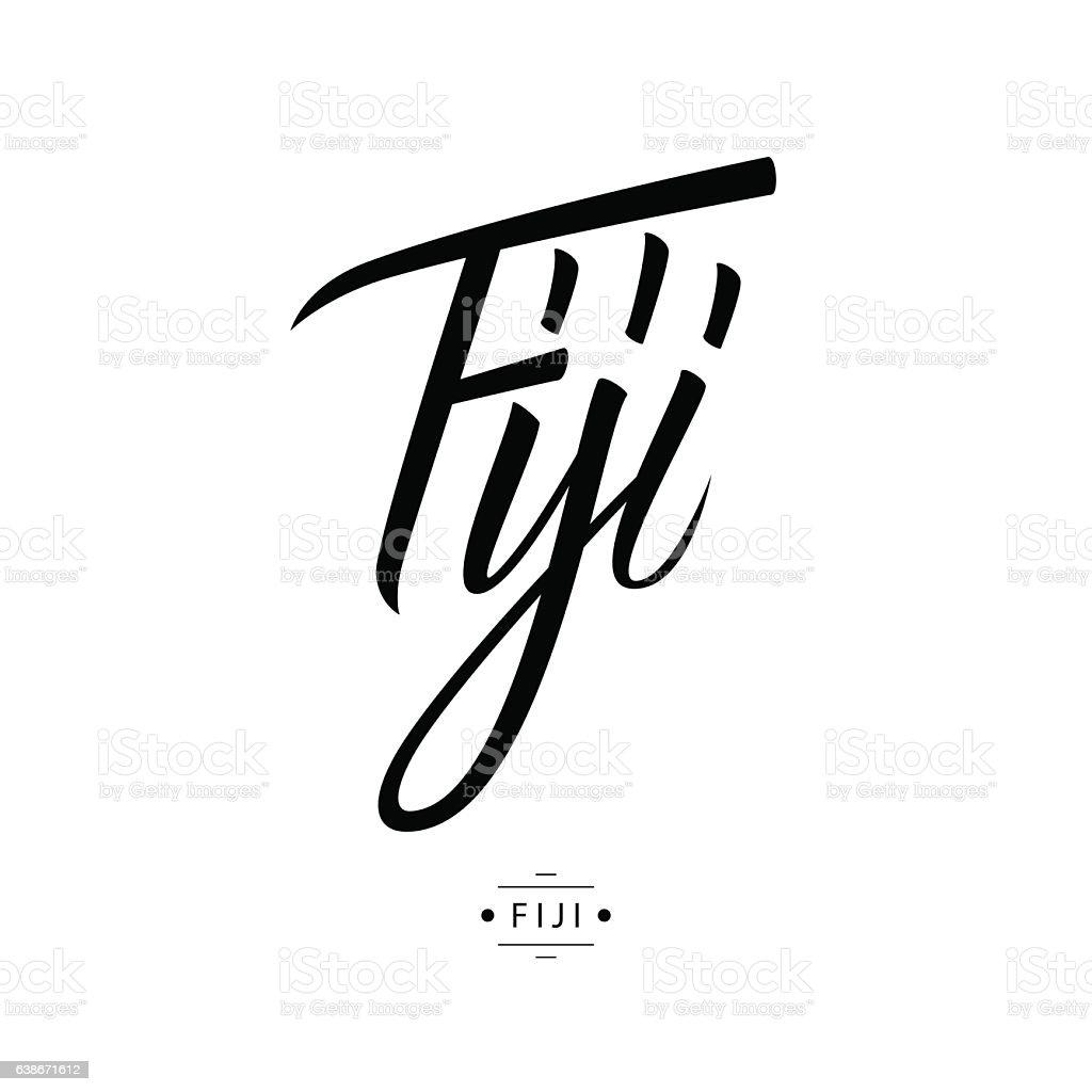 Handwritten word Fiji. Hand drawn lettering. vector art illustration