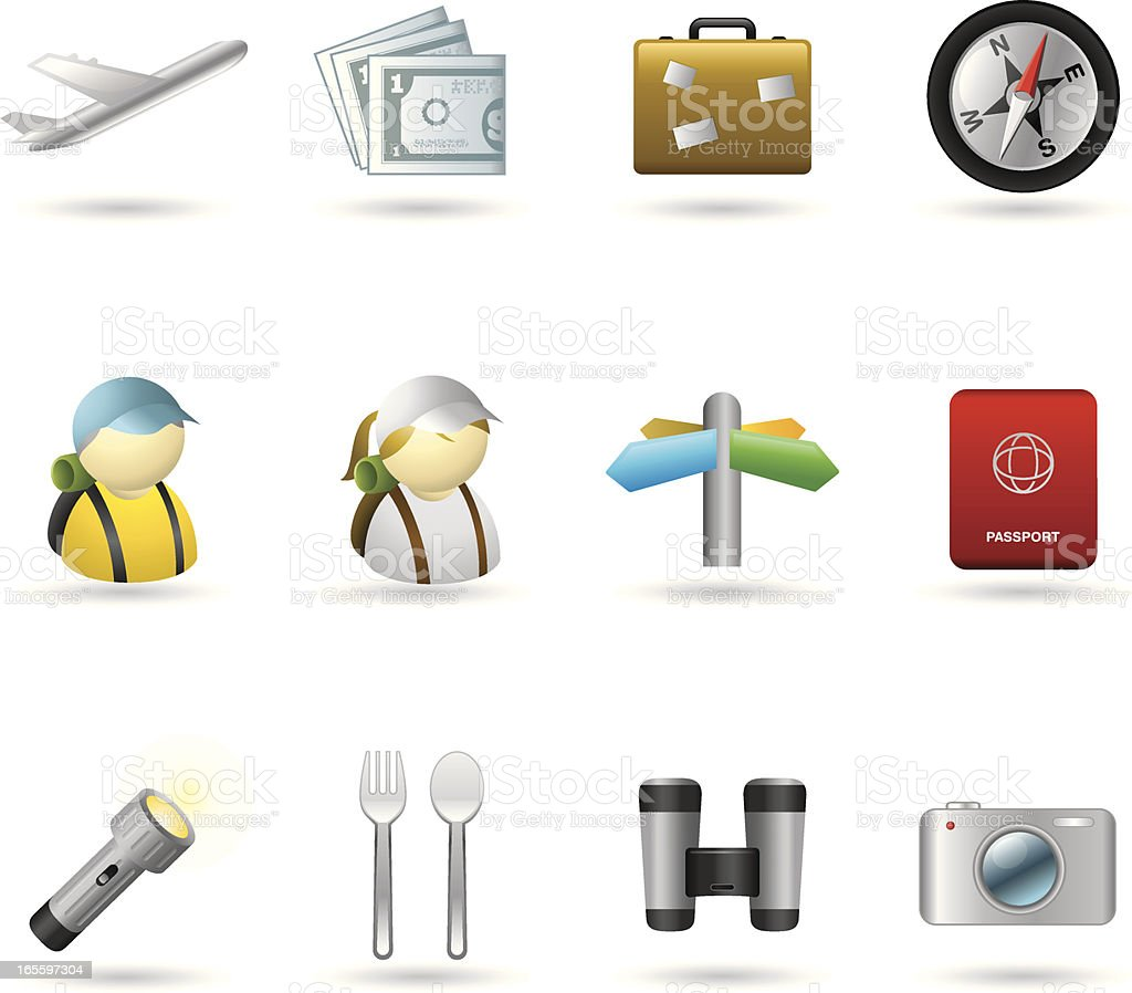 Handy Icons-Vacations & Travel royalty-free stock vector art