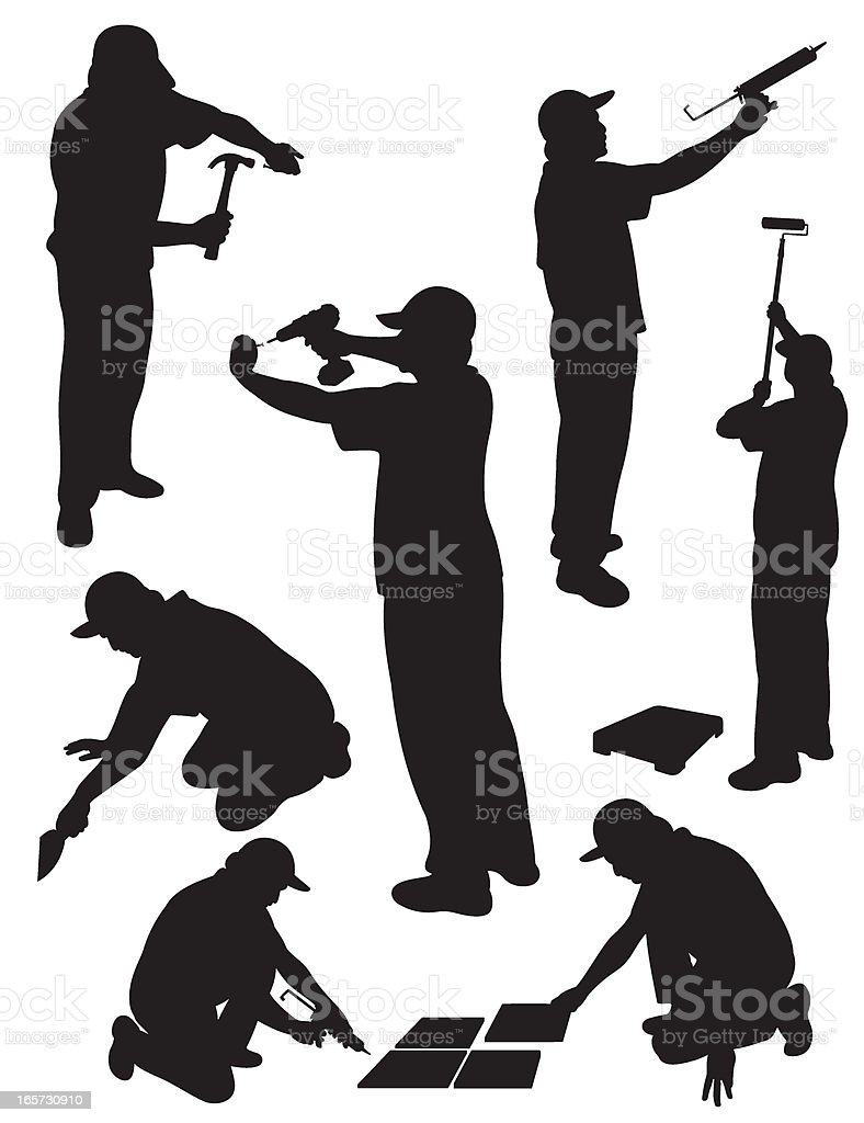 Handy man service silhouette stock vector art 165730910 for Black and white only
