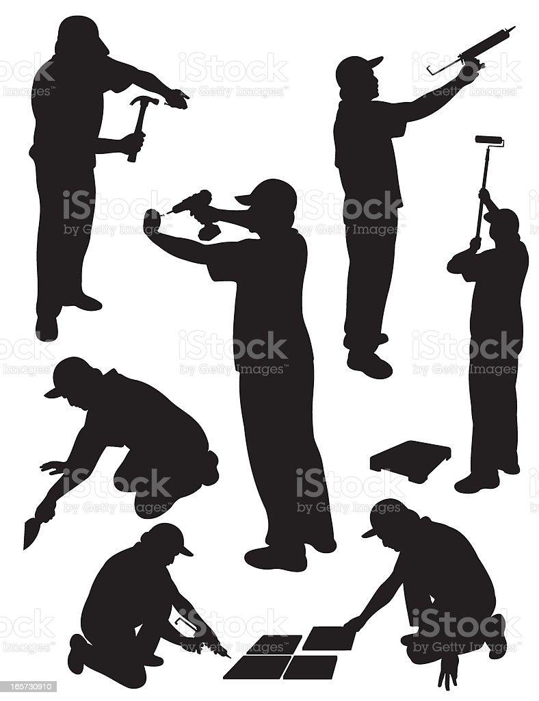 Handy Man Service Silhouette vector art illustration