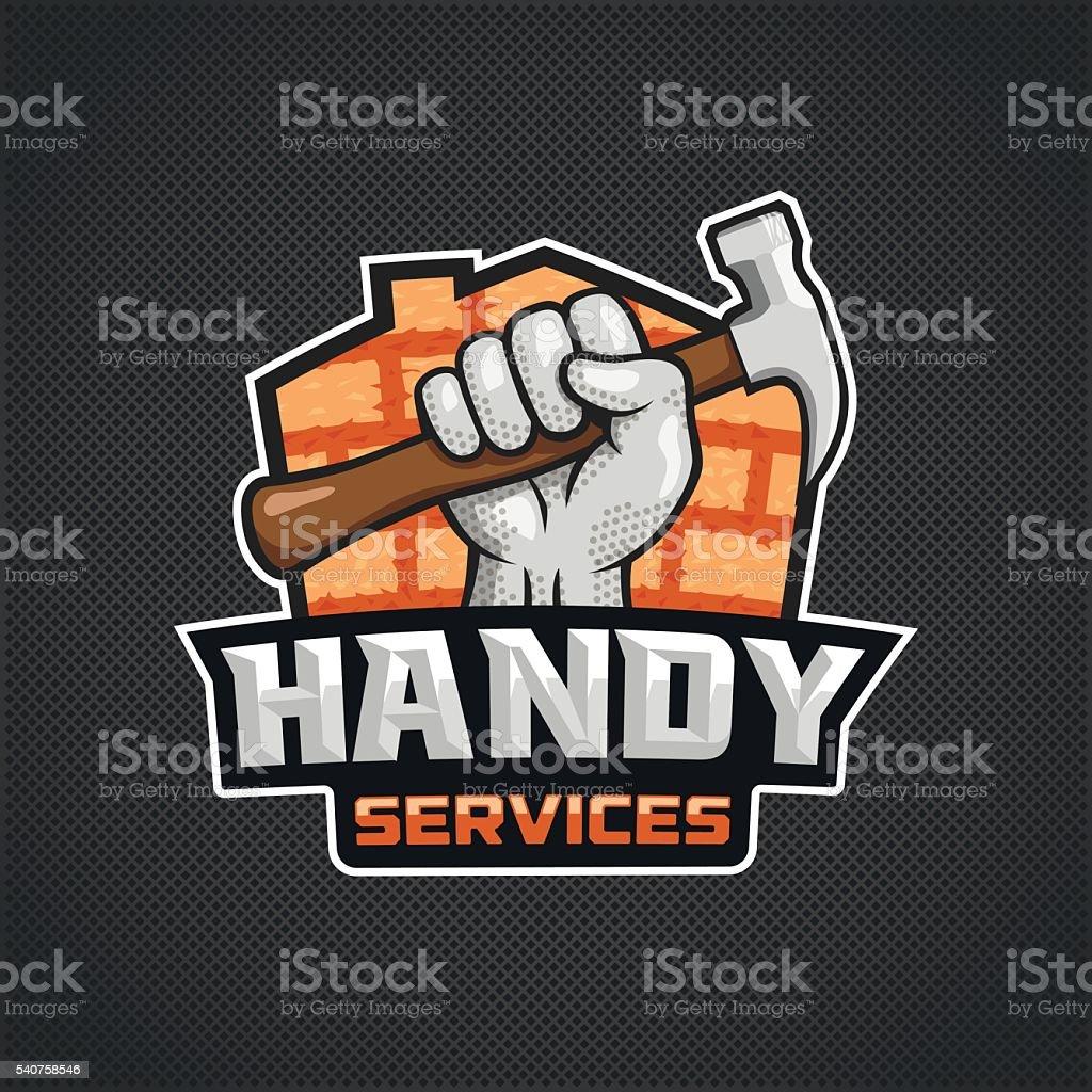 Handy services logo hand hammer vector art illustration