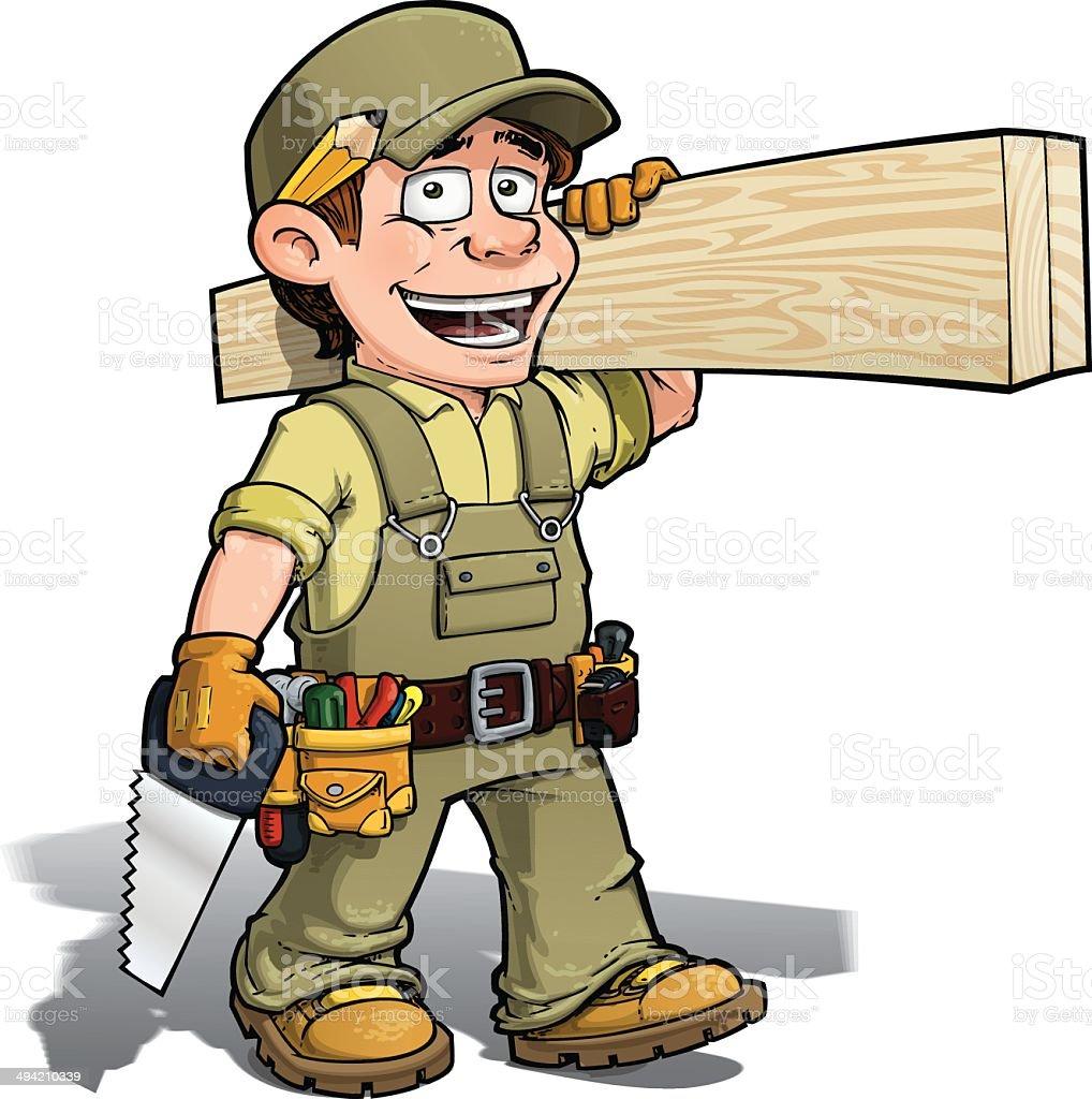 Handyman - Carpenter Khaki vector art illustration