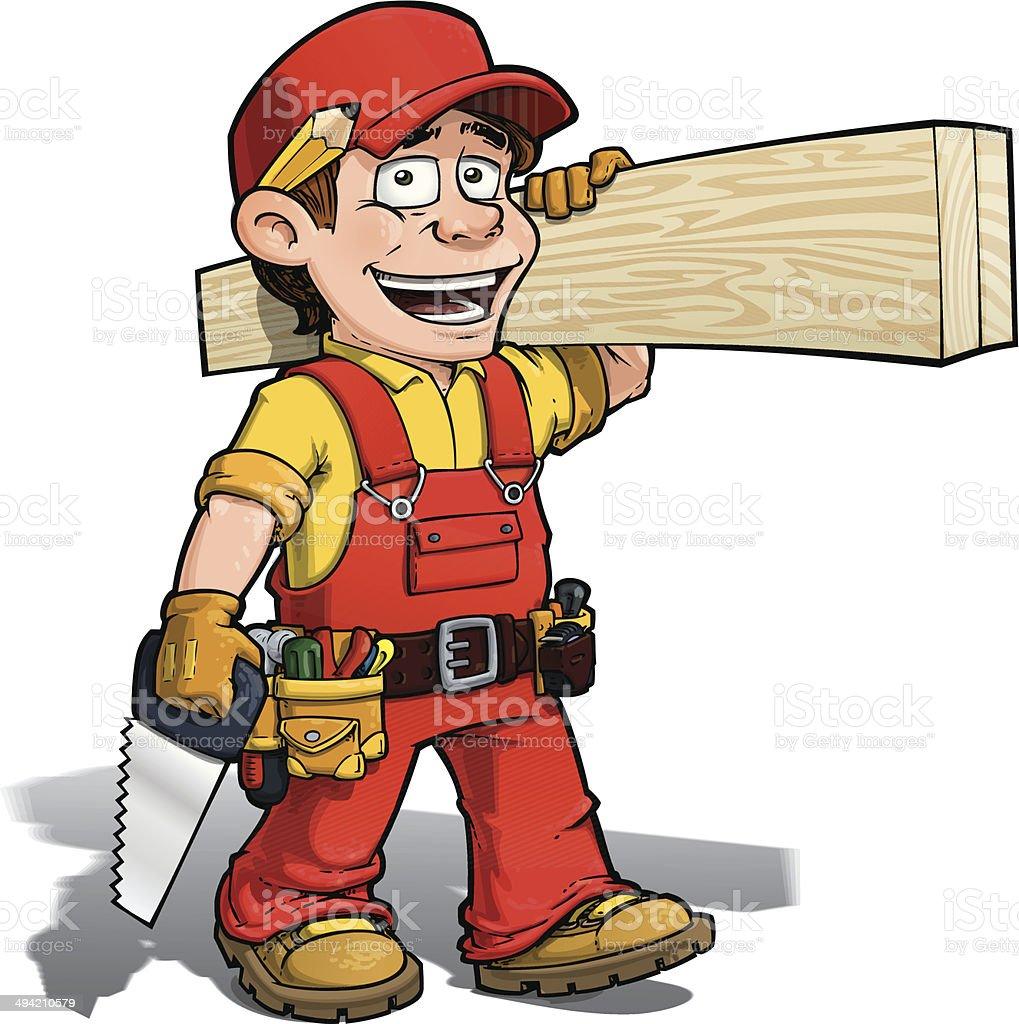 Handyman - Carpenter Red vector art illustration