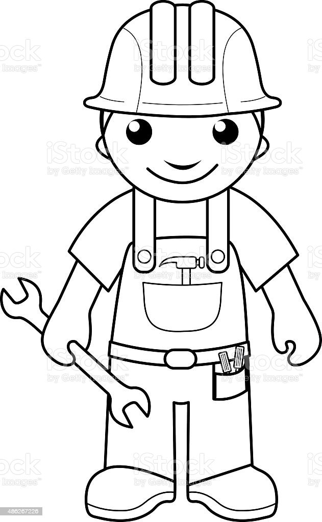 handyman coloring page for kids royalty free stock vector art
