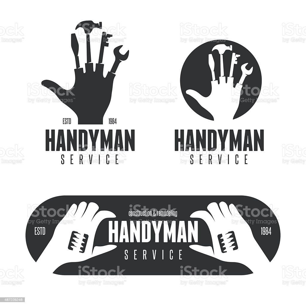 Handyman logos, emblems, badges in vintage style. vector art illustration