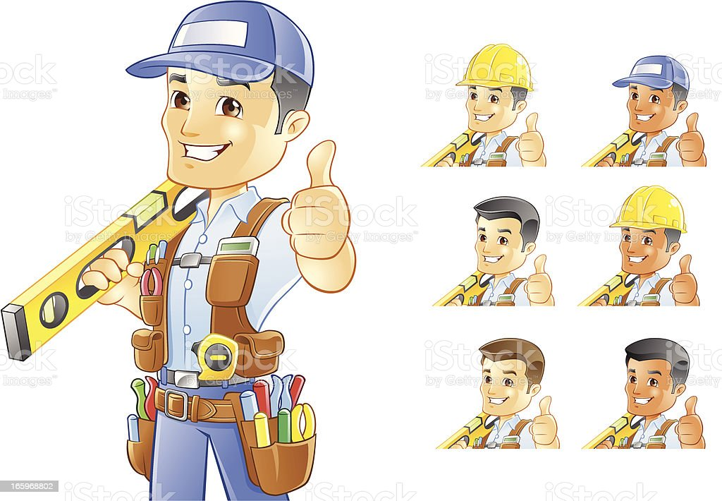 Handyman, Repairman, Construction Worker with Level vector art illustration
