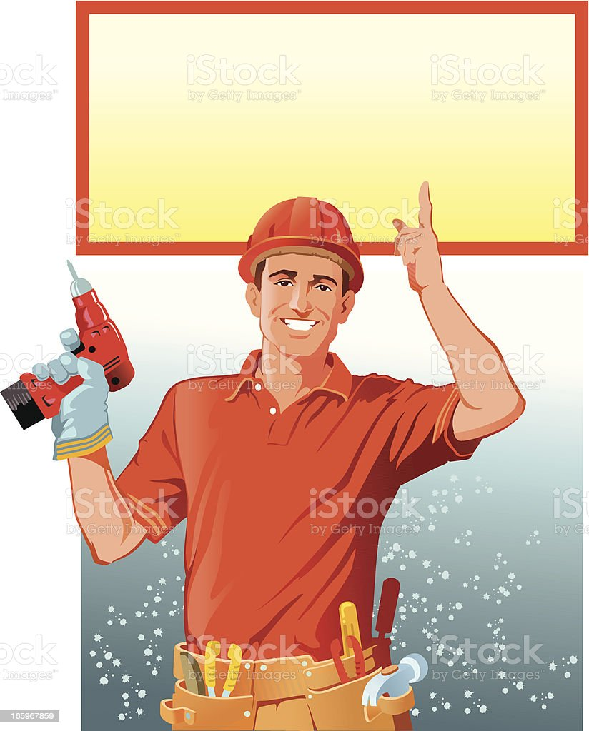 Handyman with Copy Space royalty-free stock vector art