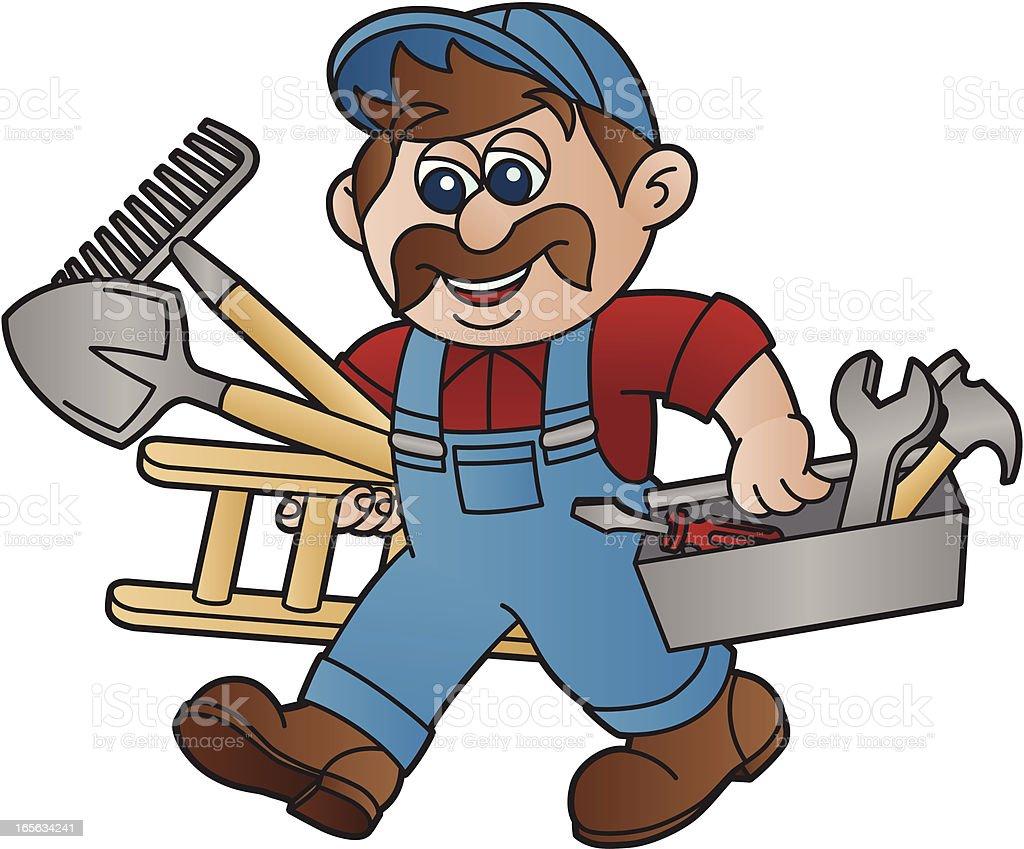 Handyman with Moustache vector art illustration