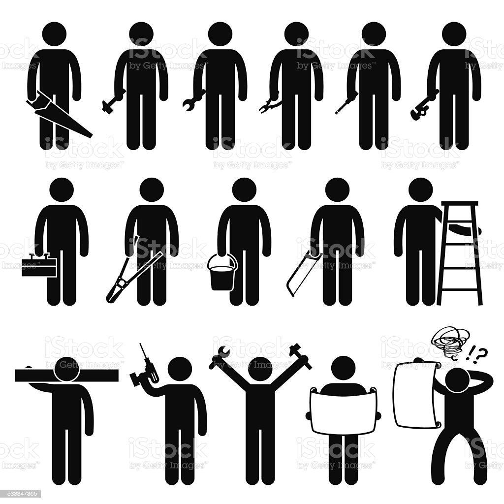 Handyman Worker using DIY work tools Stick Figure Pictogram Icons vector art illustration