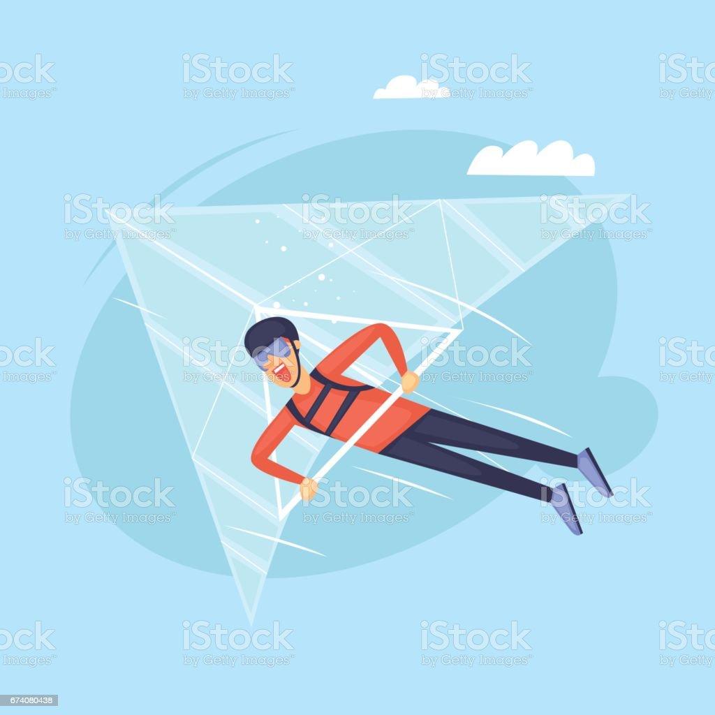 Hang glider. Isolated. Extreme sport. Flat design vector illustrations. vector art illustration