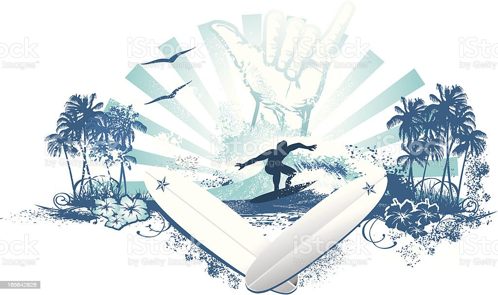 hang loose surfer wave with boards royalty-free stock vector art