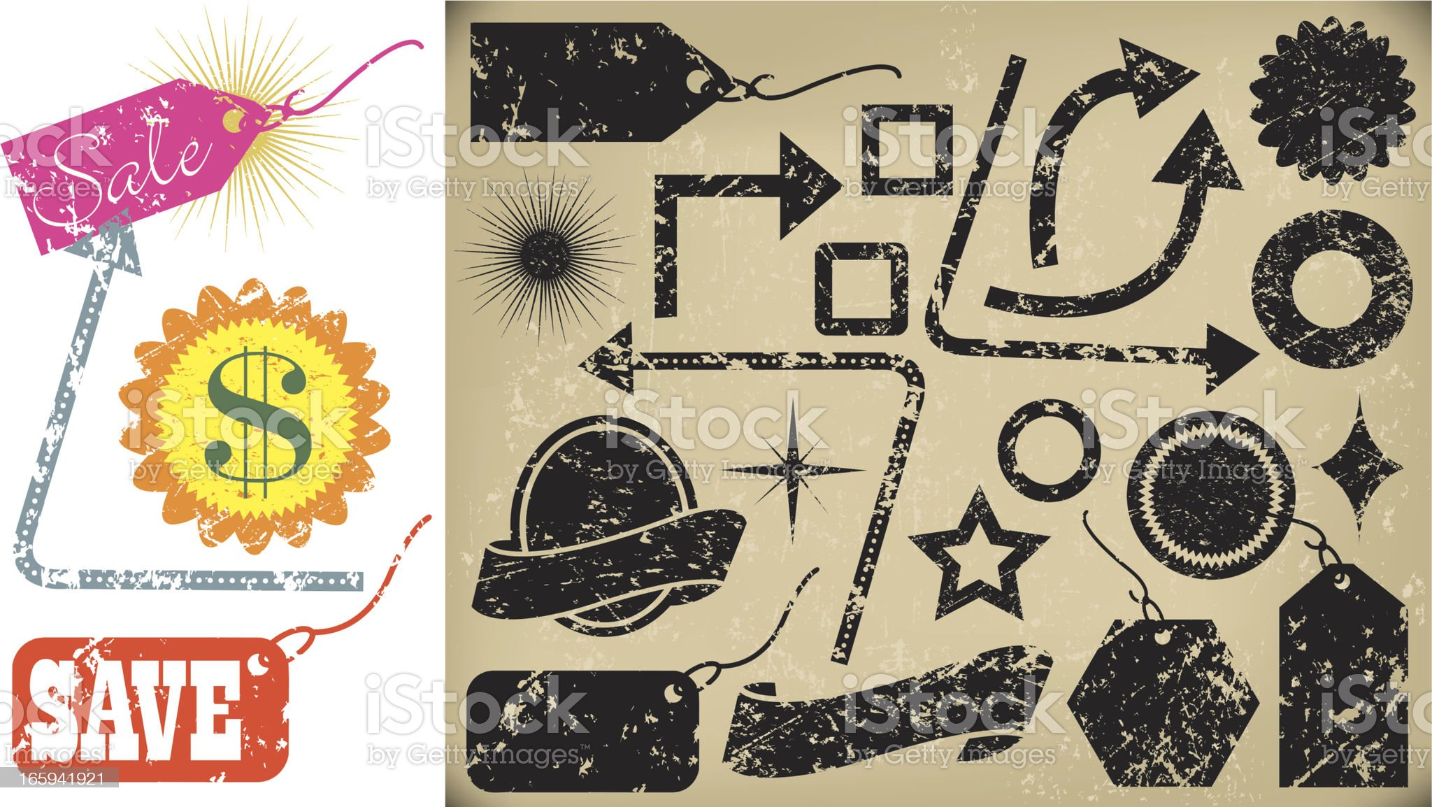 Hang Tags - Grunge Stars, Stamps and Arrows royalty-free stock vector art