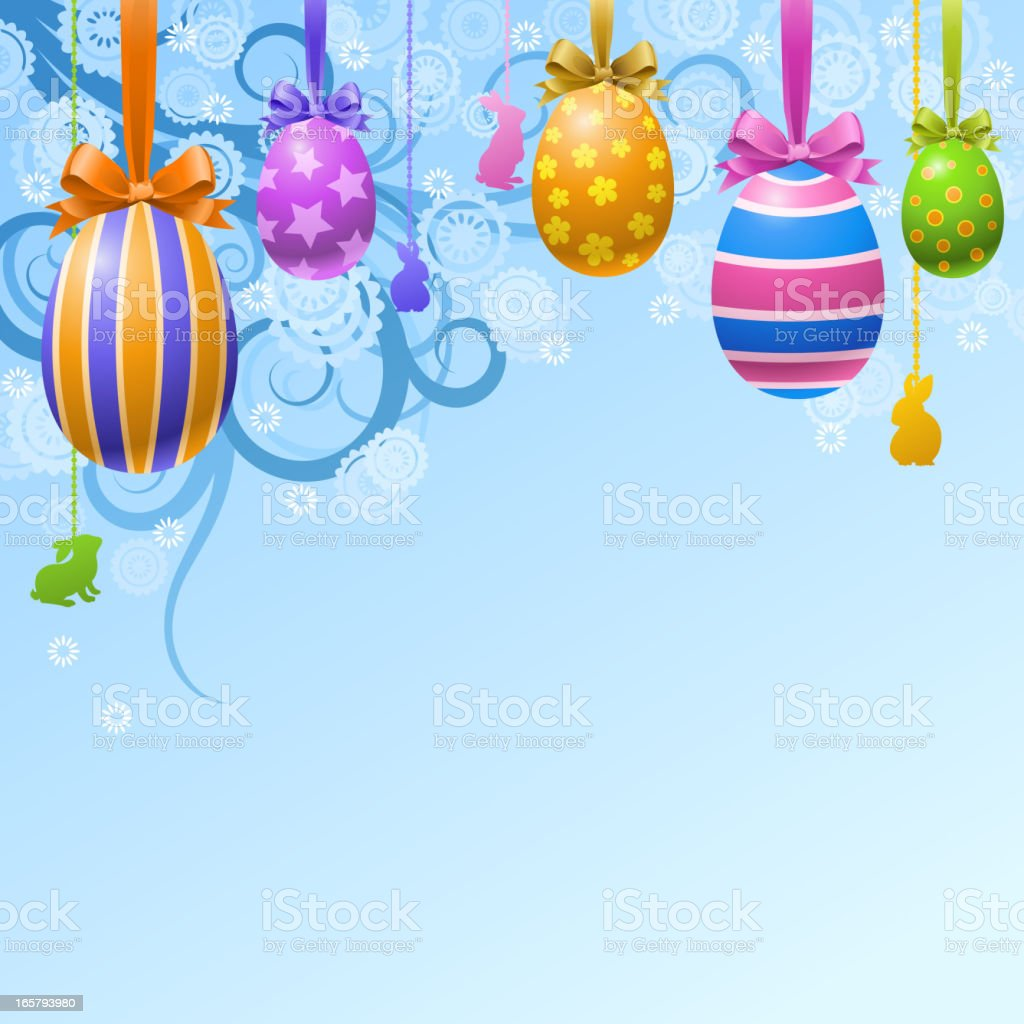 Hang Up Easter Eggs Decoration royalty-free stock vector art