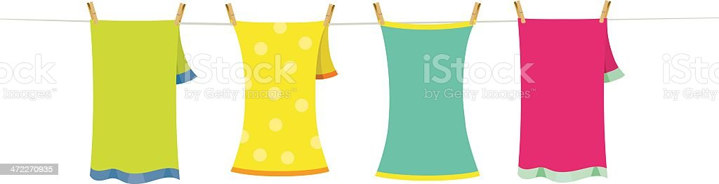 hanged towels royalty-free stock vector art
