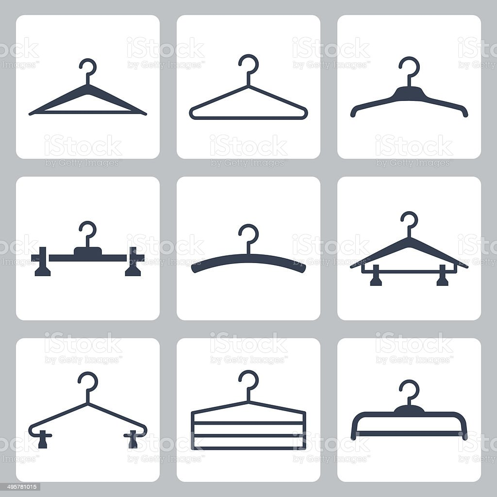 Hangers vector icons set vector art illustration