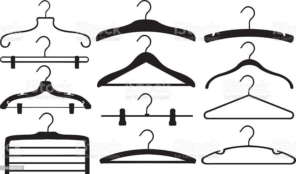 hangers vector art illustration