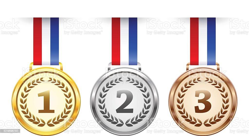 Hanging award medals set vector art illustration