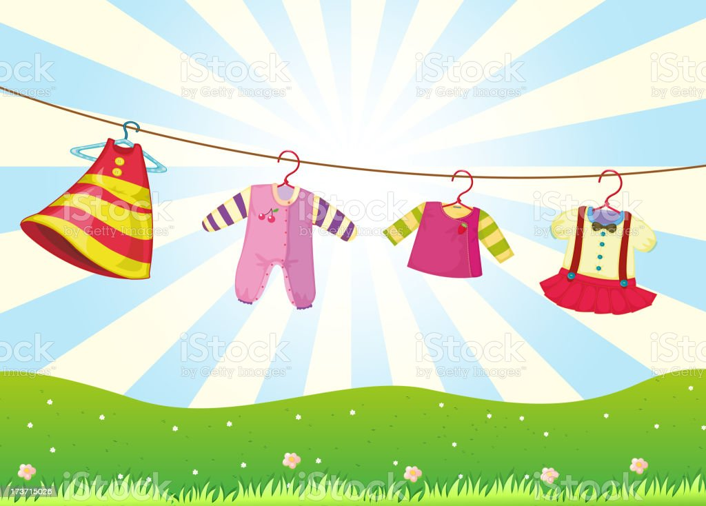 Hanging baby clothes in the hill royalty-free stock vector art