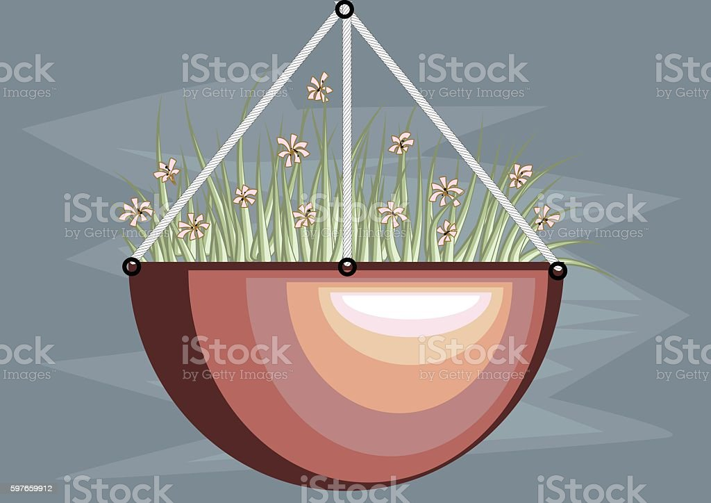 hanging basket vector art illustration