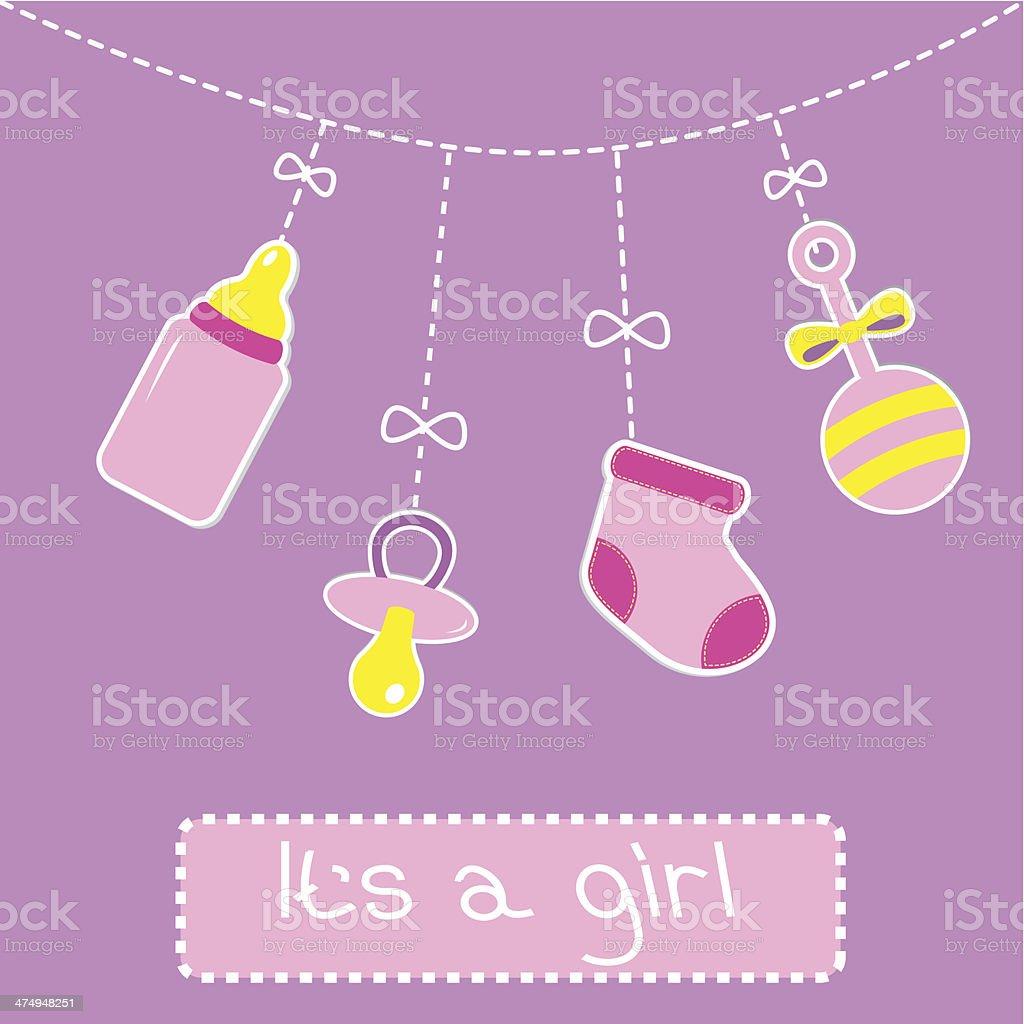 Hanging  bottle, pacifier, rattle and sock. Baby girl shower car vector art illustration