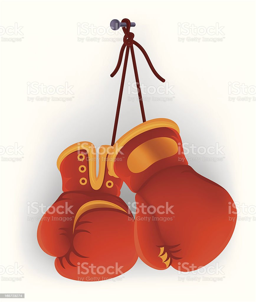 Hanging Boxing Gloves vector art illustration