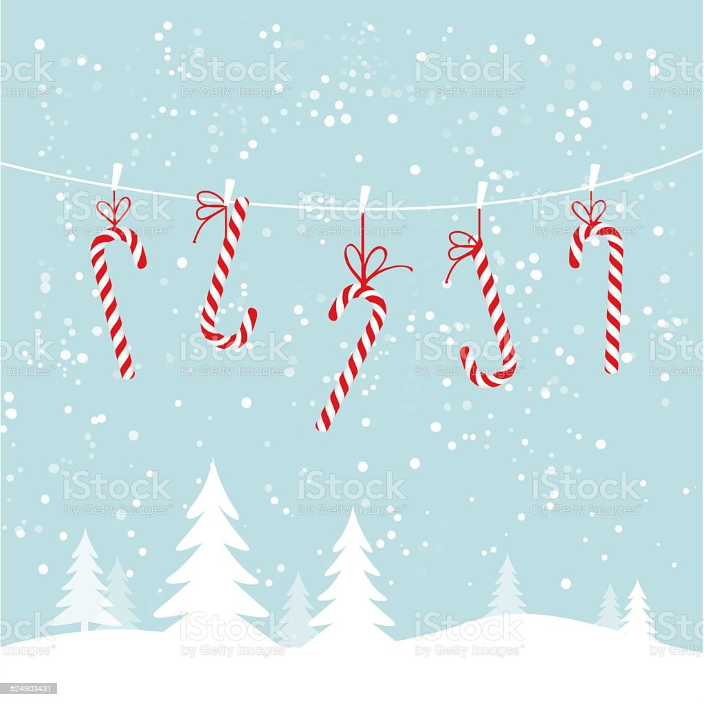 Hanging candy canes vector art illustration