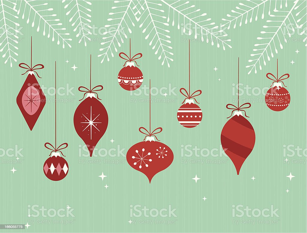Hanging Christmas ornaments on branches vector art illustration