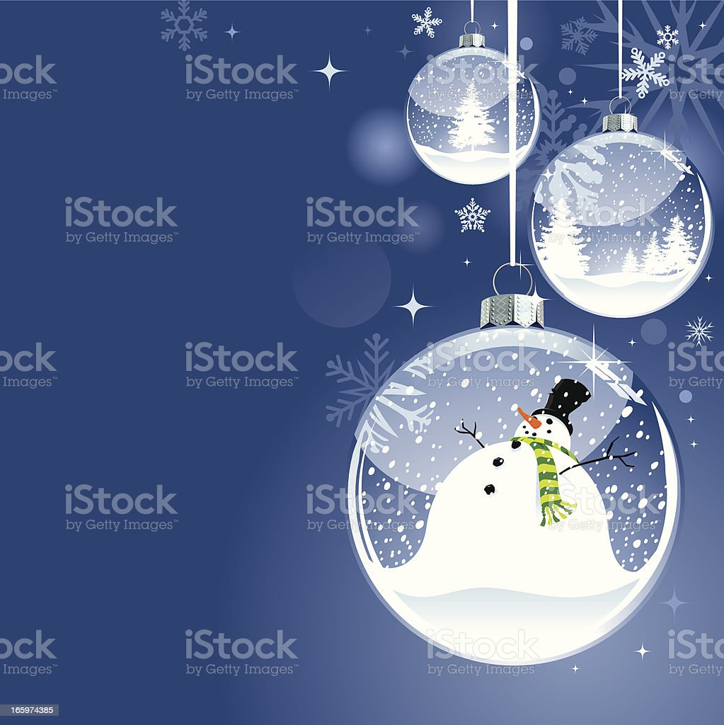 Hanging Christmas Snow Globe bauble with Snowman vector art illustration