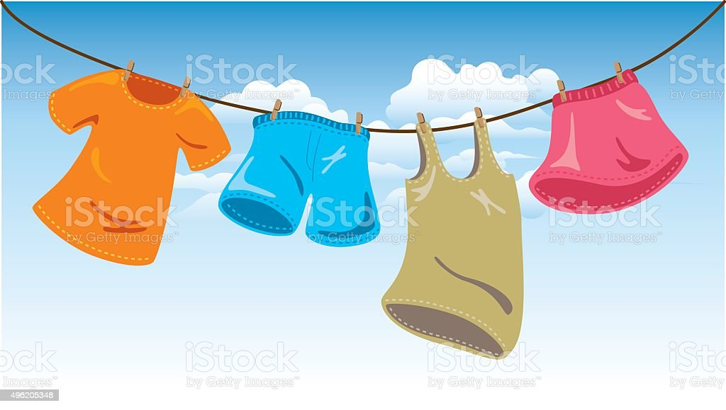 hanging clothes on washing line vector art illustration